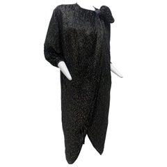1980 Schiaparelli Black & Gold Woodgrain Velvet Side Tie Opera Coat or Dress