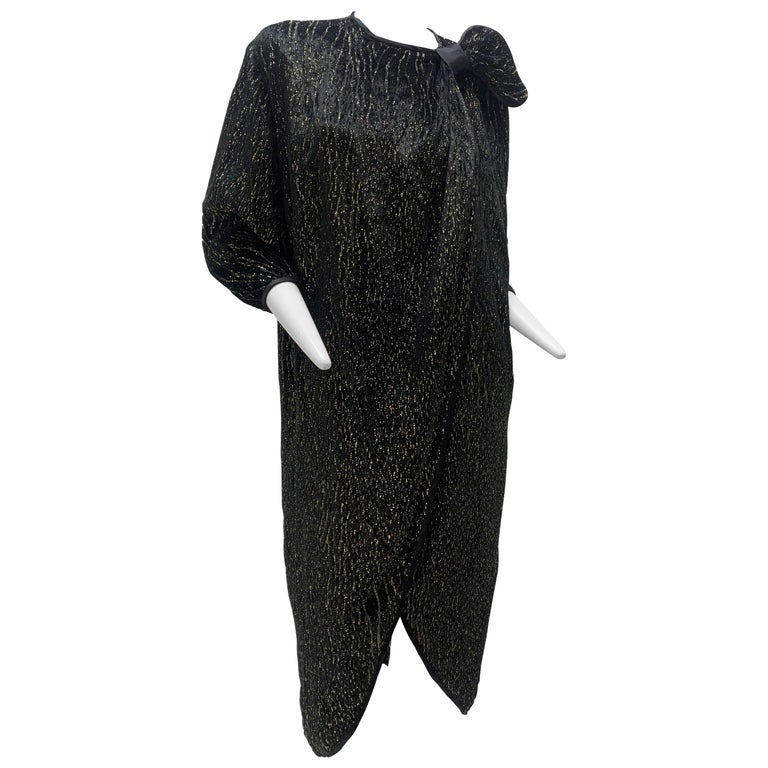 1980 Schiaparelli Black & Gold Woodgrain Velvet Side Tie Opera Coat or Dress For Sale