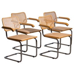 1980, Set Of four Marcel Breuer Chrome and Gold Beech Cesca B64 Chairs, Italy