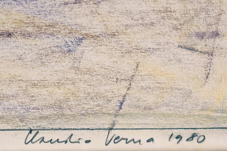 1980 Signed and Certified Pastel on Paper by Claudio Verna In Good Condition For Sale In Paris, FR