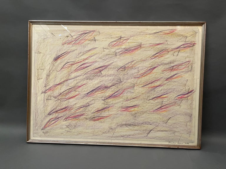 1980 Signed and Certified Pastel on Paper by Claudio Verna For Sale 2