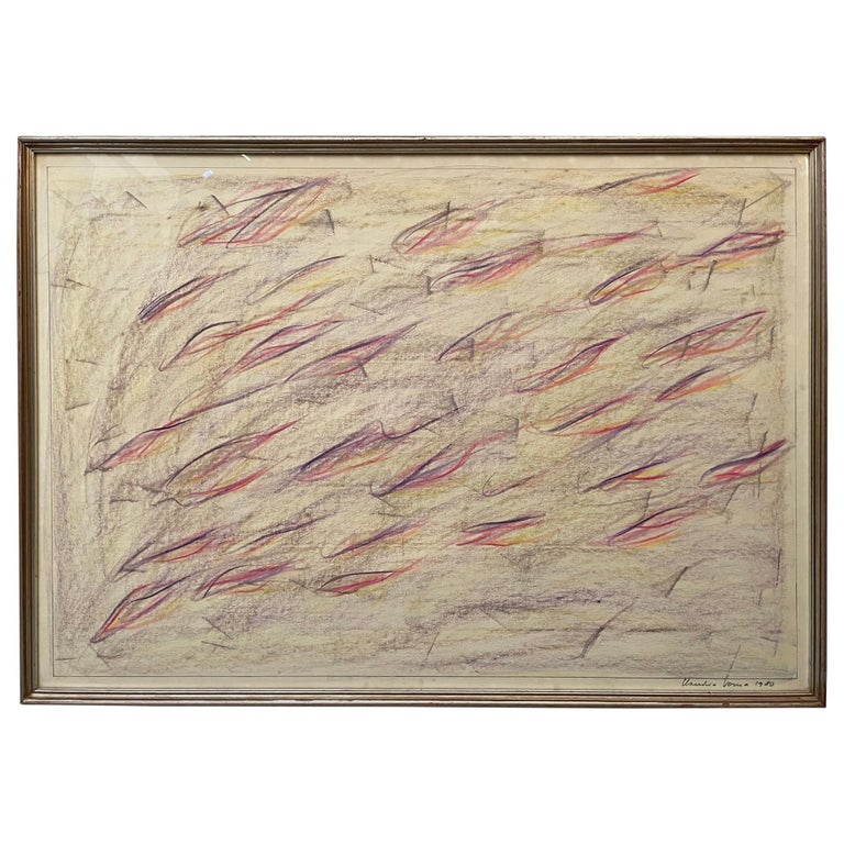 1980 Signed and Certified Pastel on Paper by Claudio Verna For Sale