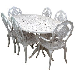 1980 Spanish Set of Cast Aluminium Table and Six Chairs