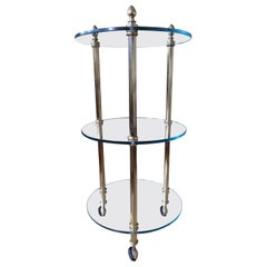 1980 This Small Round 3 Top Trolley Brass and Glass
