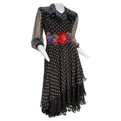 1980 Whimsical Silk Chiffon Polka Dot Dress W/ Colorful Beaded & Sequin Florals