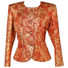 1980 Yves Saint Laurent gold lamé and orange silk jacket with jewelled buttons