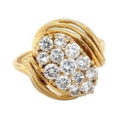 1980s 0.60 Carat Diamond Ring in 14 Karat Yellow Gold