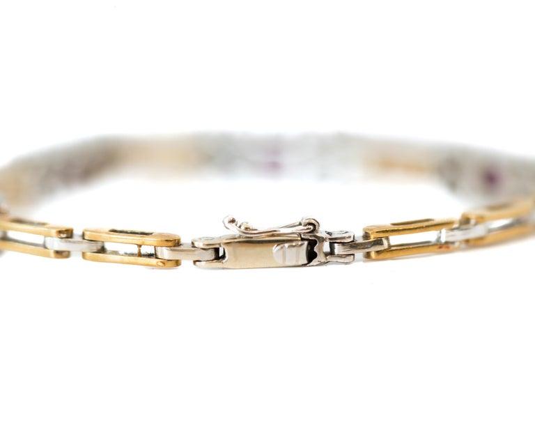 Round Cut 1980s 0.75 Carat Diamond and 1 Carat Ruby Link Bracelet in 18 Karat Gold For Sale