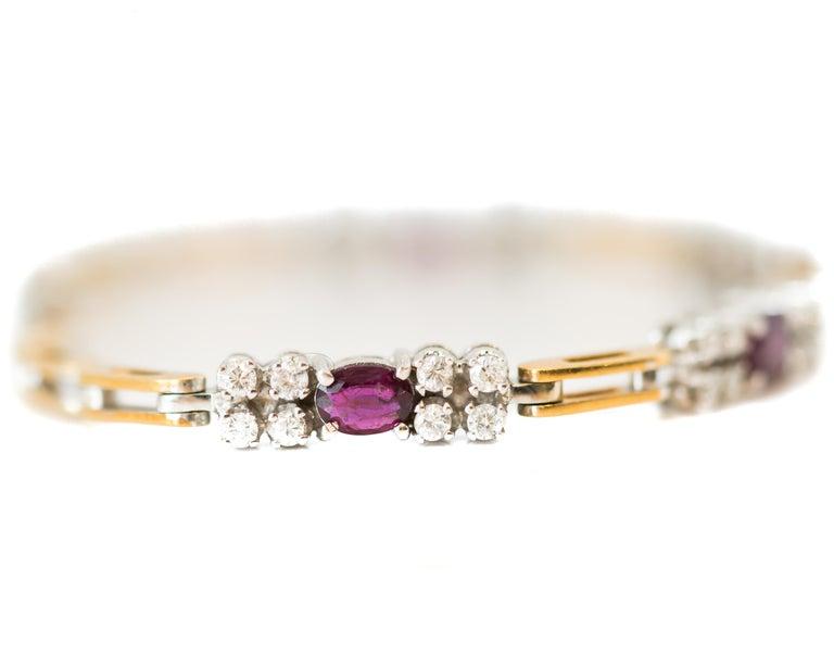 1980s 0.75 Carat Diamond and 1 Carat Ruby Link Bracelet in 18 Karat Gold For Sale
