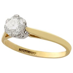 1980s 0.79 Carat Diamond and 18 Karat Yellow Gold Solitaire Ring