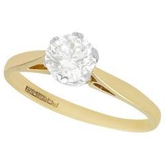 1980s 0.79 Carat Diamond and 18 Karat Yellow Gold Solitaire Ring