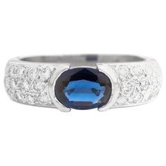 1980s 1 Carat Blue Sapphire and Diamond Platinum Ring