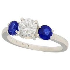 1980s 1.02 Carat Diamond and Sapphire Platinum Trilogy Ring