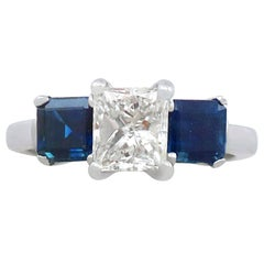 1980s 1.11 Carat Diamond and Sapphire Platinum Trilogy Ring