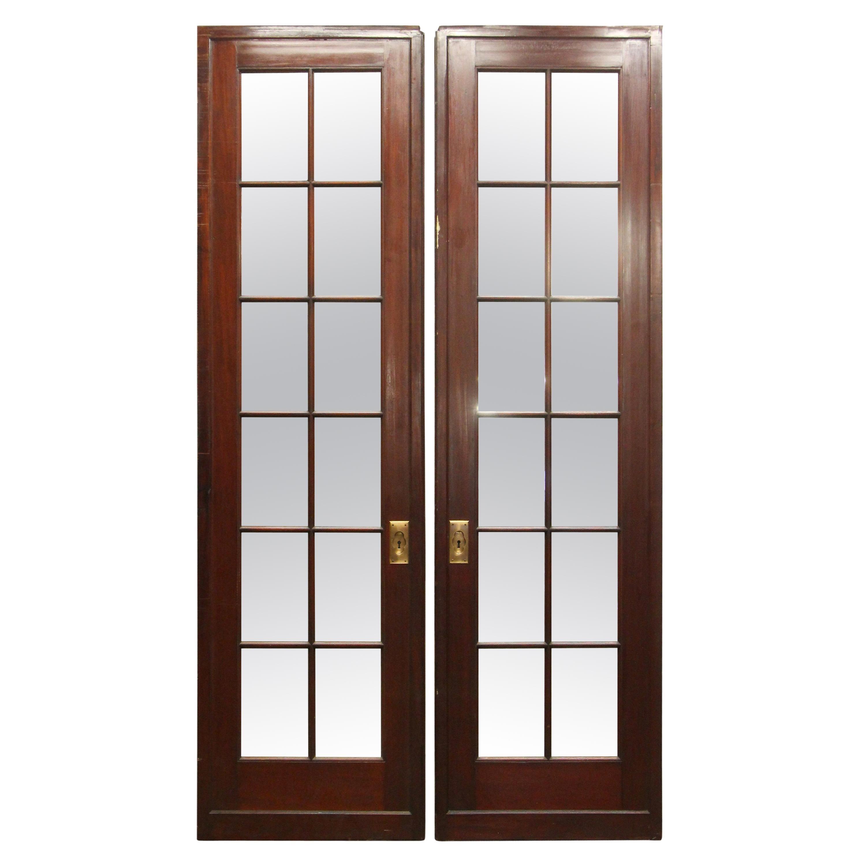 1980s 12 Lite Mirrored Mahogany Double French Doors