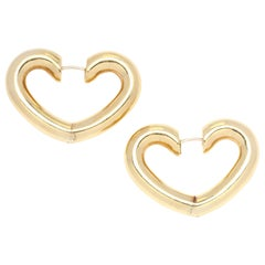 1980s 14 Karat Gold Large Heart Hoop Earrings