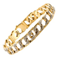 1980s 14 Karat Yellow Gold Link and Diamond Bracelet