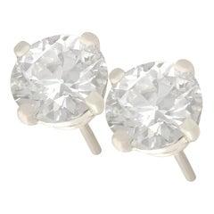 1980s 1.48 Carat Diamond and Platinum Stud Earrings