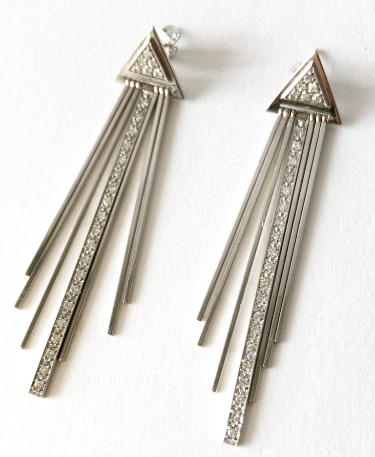 Artist 1980s 14 Karat White Gold Diamond Fringed Disco Earrings For Sale