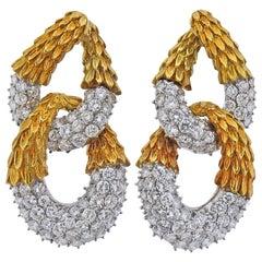 1980s 16 Carat Diamond Gold Earrings