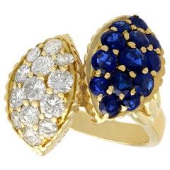 1980s 1.66 Carat Sapphire and 1.96 Carat Diamond Yellow Gold Twist Ring