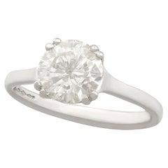 1980s 1.72 Carat Diamond and Contemporary Platinum Set Solitaire Ring