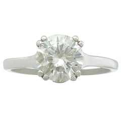 1980s 1.72 Carat Diamond and Contemporary Platinum Solitaire Ring