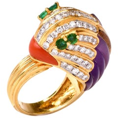 1980s 18 karat Diamond Amethyst Coral Emerald Animal Cocktail Gold Ring