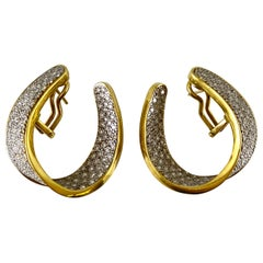 1980s 18 Karat Open Hoop Earring with Diamonds