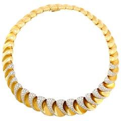 1980s 18 Karat with Diamonds Choker Necklace