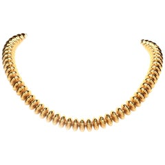 1980s 18 Karat Yellow Gold Bead Choker Necklace