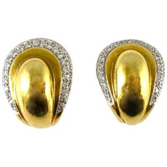 1980s 18 Karat Yellow Gold Big Pear Style with Diamonds Earrings