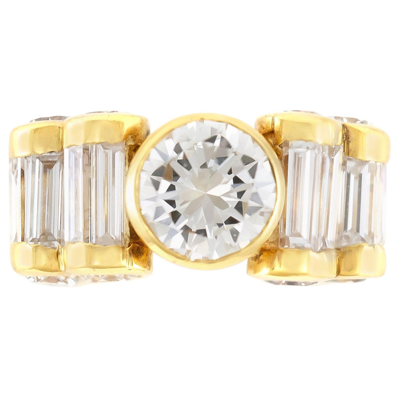 1980s 18 Karat Yellow Gold Engagement Ring