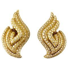1980s 18 Karat Yellow Gold Half Wings with Diamonds Earring