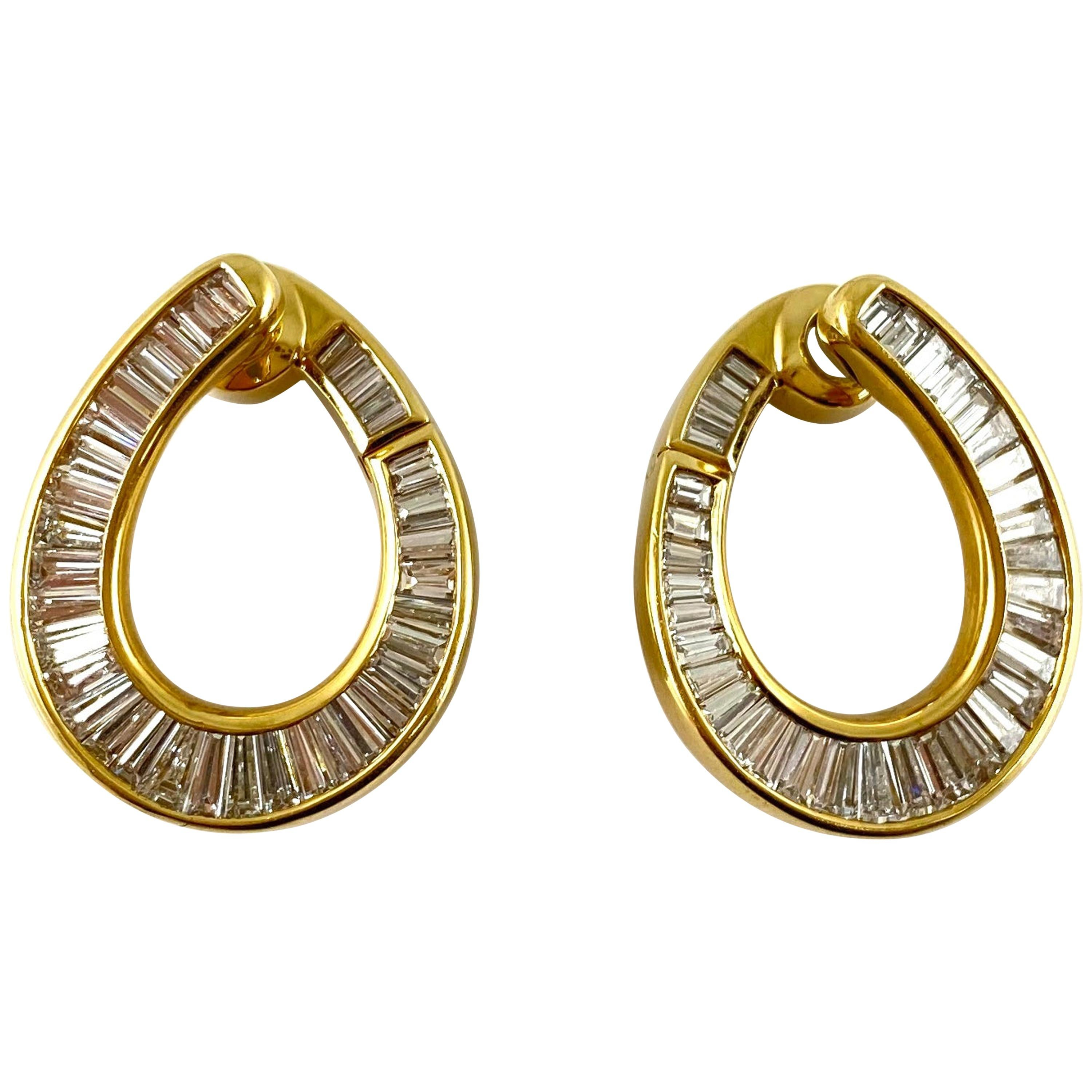 1980s 18 Karat Yellow Gold Small Hoop with Emerald Cut Diamonds Earrings