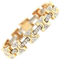 1980s 18 Karat Yellow Link with Diamond Bracelet