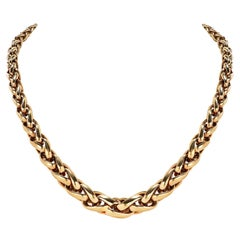 1980's 18k Yellow Gold Foxtail Graduated Woven Link Necklace