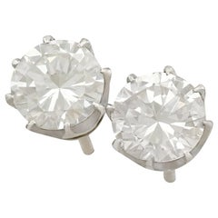 1980s 1.90 Carat Diamond and Platinum Stud Earrings