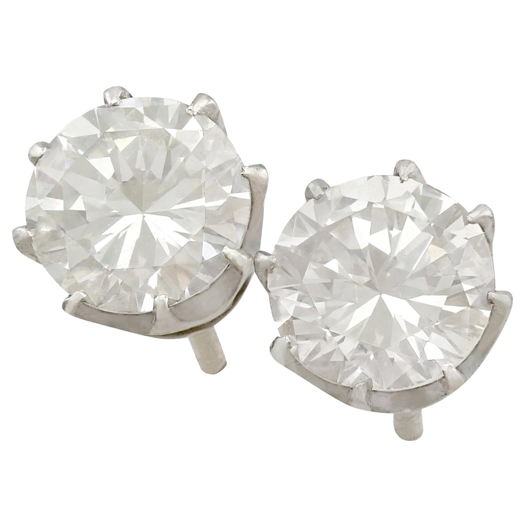 1980s 1.90 Carat Diamond and Platinum Stud Earrings
