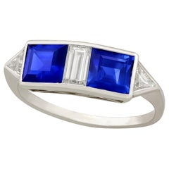 1980s 1.90 Carat Sapphire and Diamond White Gold Dress Ring