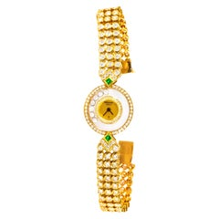 1980s-1990s Chopard Happy Diamond Emerald and Aprox 20Cts Diamond Bracelet Watch