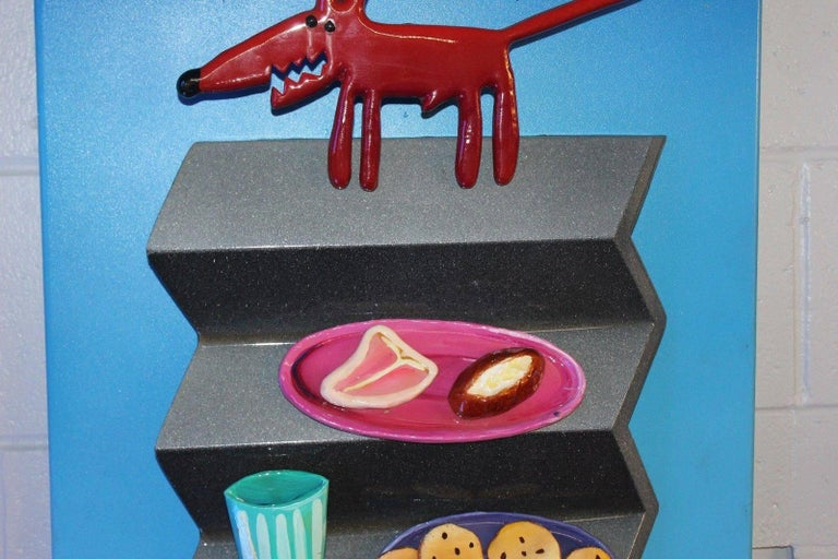 American 1980s-1990s Hotdog Artwork Mixed-Media on Wood by Roark Gourley For Sale