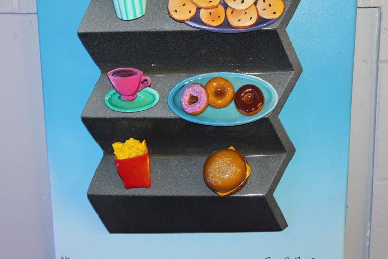 Late 20th Century 1980s-1990s Hotdog Artwork Mixed-Media on Wood by Roark Gourley For Sale