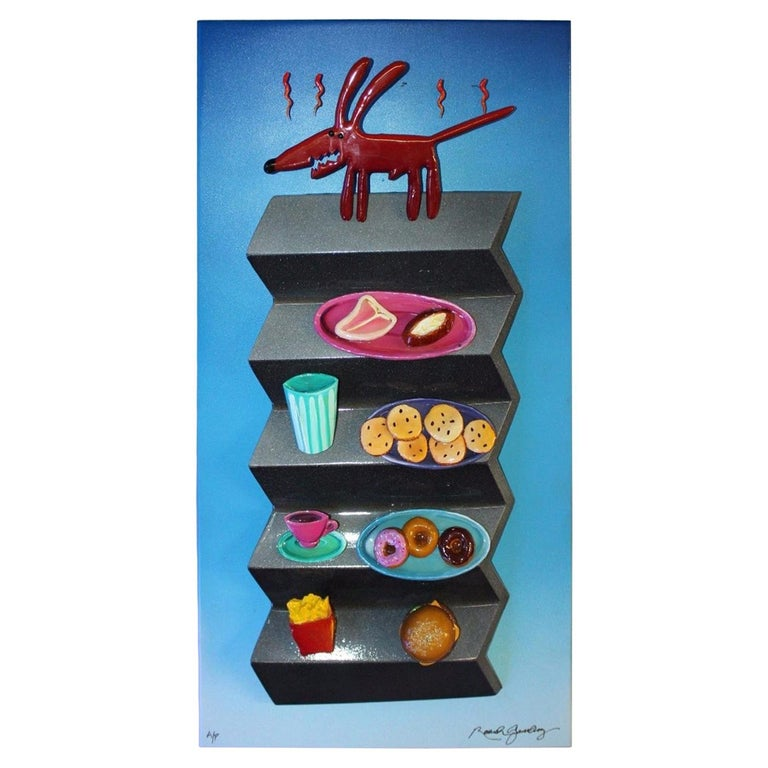 1980s-1990s Hotdog Artwork Mixed-Media on Wood by Roark Gourley For Sale