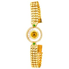 1980s-1990s Chopard Happy Diamond Emerald Approx 14 Carat Bracelet Watch
