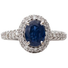 1980s 2 Carat Total Diamond and Sapphire Ring