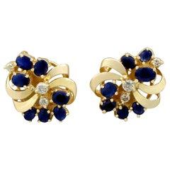 1980s 2.25 Carat Sapphire and Diamond Yellow Gold Stud Earrings