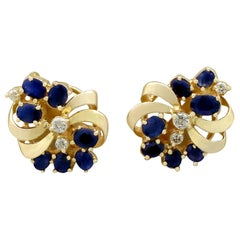 1980s 2.25 Carat Sapphire and Diamond Yellow Gold Stud Earrings