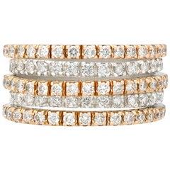 1980s 2.31 Diamond and 18 Carat Rose Gold, 18 Carat White Gold Dress Ring