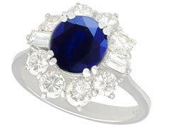 1980s 2.46 Carat Sapphire and 1.50 Carat Diamond White Gold Cluster Ring